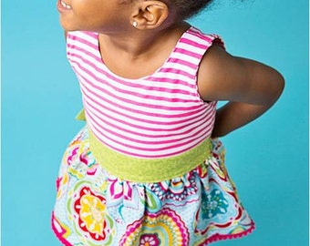"Little Girl's Multicolor ""Floral Medallion"" Dress -  Sizes 12mo- 6 years"