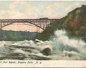 Antique Postcard Whirl Pool Rapids Niagara Falls N.Y. Railroad Bridge in Background w/ Train 1908
