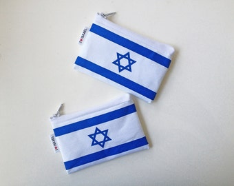 ISRAEL flag coin purse wallet with white zipper - I love Israel Wallet for travellers souvenir from Israel the holy land support Israel