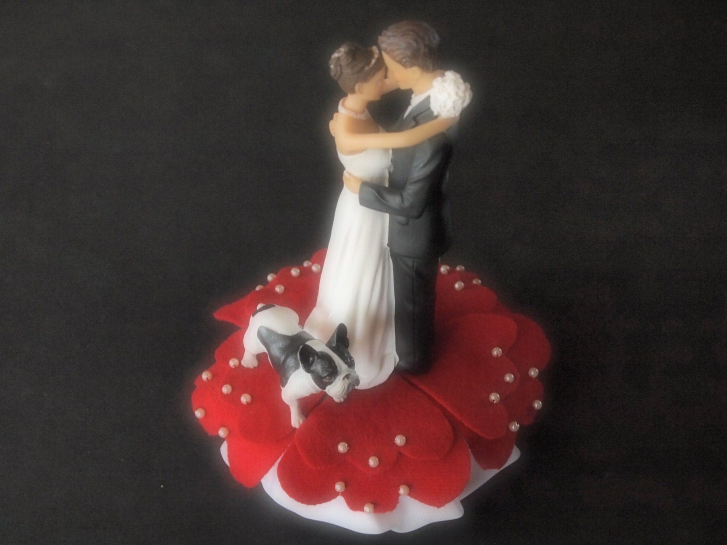 Cake Topper Wedding Red Bride and Groom French Bulldog Dog