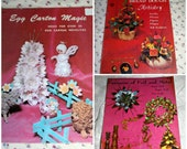 SALE Three Vintage 60s 70s Craft Booklets Egg Carton Magic, Bread Dough Artistry,  Fantasies of Foil and Metal  Eco Craft Kitschy Craft Book
