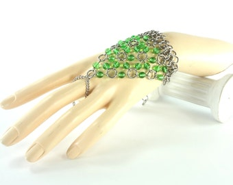 Slave Bracelet Chainmaille With Emerald Green Glass Beads