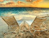 Beach Photograph Morning by the Ocean Color Photography Tropical Landscape Romance Relax Summer Sun Sunrise Valentine's Day Art Print