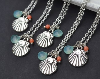Beach wedding shell necklace beach jewelry summer jewelry bridesmaid gifts bridesmaid favors charm necklace coral and seafoam set of 3,4,5,6
