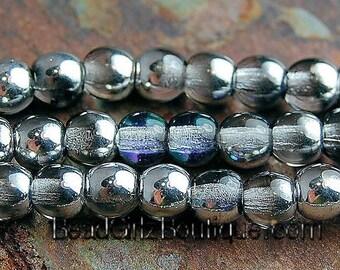 4mm Czech Silver Blue Crystal Druk Beads -100