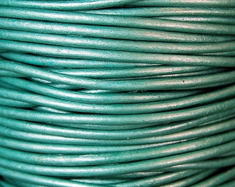 Metallic Truly Teal 1.5mm Round Leather Cord 3 Yards / 9 Feet / 2.74 Meters