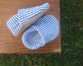 Baby Shoes for Boys - Blue and White Striped Seersucker Fabric - Custom Sizes 0-24 months 2T 3T 4T