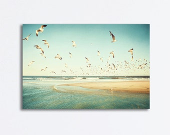 "Beach Canvas Photography - birds flying seagulls coastal ocean sea canvas wrap turquoise mint green teal aqua large yellow orange, ""Freedom"""