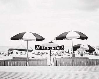 "Black and White Photograph, beach umbrella print, pale grey light gray coastal wall art, nautical decor seashore photograph, ""Daily Rentals"""