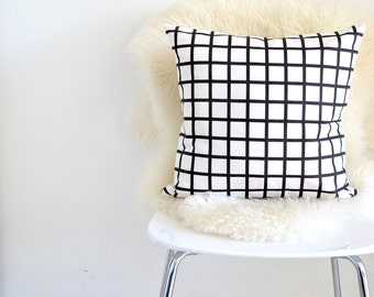 Grid Black And White Pillow Cover| Decorative Pillow Cover| Geometric Throw Pillow.