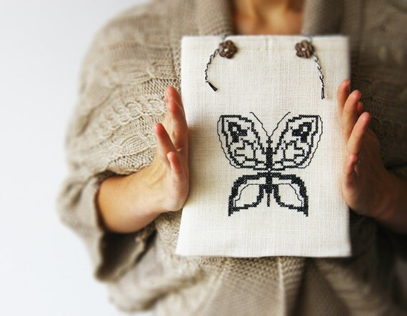 iPad sleeve Butterfly - Hand embroidery - iPad case - White and black - OOAK