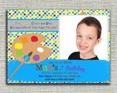 Art Birthday Invitation, Arts and Crafts Birthday Invitation -Digital File You Print