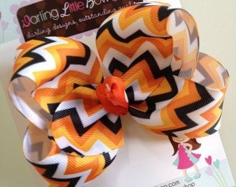 Chevron Bow -- orange, black and white -- chevron large boutique bow -- perfect for Fall and Halloween