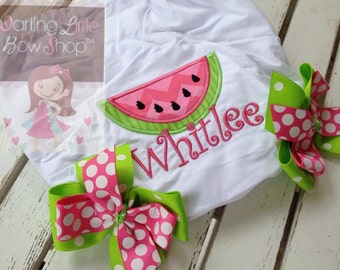Baby Girl Bloomers -- Pinks and Green -- Watermelon Sweetie bloomers with chevron and polka dot bows
