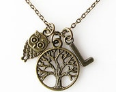 family tree necklace, gift for grandma, mom gift sister gift, gift for owl lover, owl jewelry necklace, long necklace, tree of life necklace