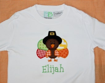 Personalized Applique Fall Thanksgiving Pilgrim Turkey Long/Short Sleeve onesie or tshirt