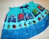 listing for IDEMOE!  THOMAS the Tank Engine Skirt Girls Size 3T/4T in aqua and blues from Little Miss Prim