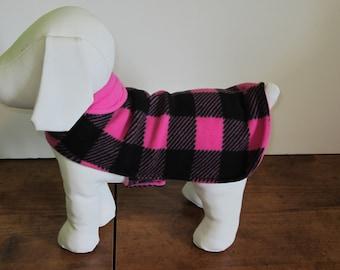 Pink and Black Checkered Double Fleece Jacket, Xsmall, Small & Medium