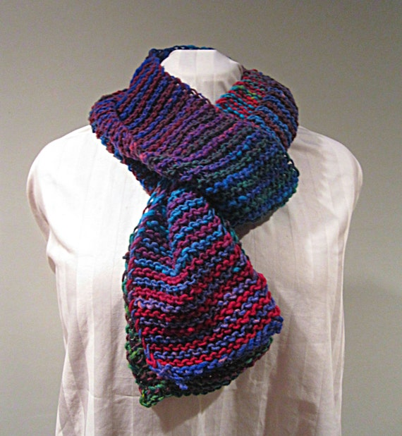 CLEARANCE - Hand Knit Rainbow Striped Scarf