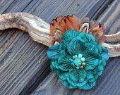 Fascinator - Hair Clip - Pheasant Feathers - Turquoise - Hydrangea