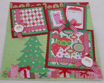 Christmas Tree Santa Presents Girl Boy 12x12 Premade Scrapbook Page by KARI