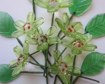 10 Vintage Glass French Flowers And Leaves On Wire