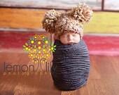 Puffy Pom Baby Girl Crochet Hat Newborn Crochet Photography Prop