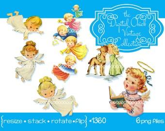 Digital Clipart, instant download, Vintage Christmas Images, angels, cherubs, children, little girls, babies, clip art--6 png files  1360