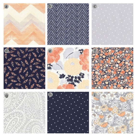 custom baby bedding peach grey and navy baby by gigglesixbaby. Black Bedroom Furniture Sets. Home Design Ideas