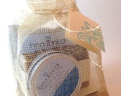 Organic Lavender Gift Bag Set - Soap, Lotion Bar, and Bath Salt Packet in Natural Sinamay Bag