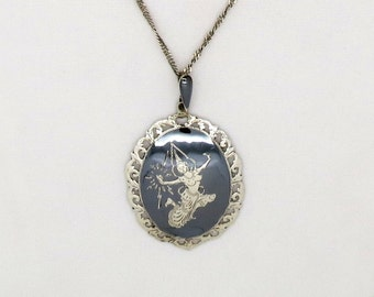 Large Mekala Sterling Pendant on Italy 925 Twisted Chain