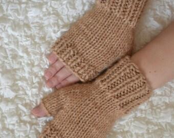 Wool fingerless gloves,hand-knitted fingerless women's gloves, winters gloves,brown arm warmers