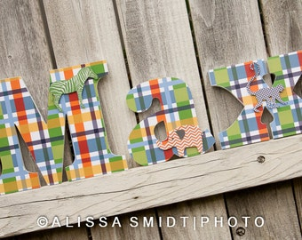 lowercase letters plaid madras custom nursery wooden letters baby nursery jungle theme custom letters zebra elephant monkey lion