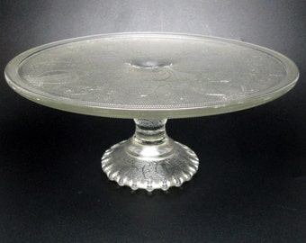 vintage JEANNETTE glass lyre pedestal cake plate / stand jeanette