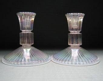 FENTON candle holder pair , optic rib / ribbed opalescent glass