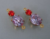 Vintage Lavender Faceted Oval Glass and Round Hyacinth Rhinestone Brass Prong Settings(2).