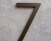 Modern House Number Aluminum Modern Font Number SEVEN 7 in Bronze
