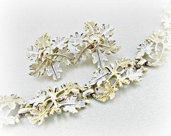 Vintage Jewelry Set, Designer SARAH COVENTRY, Gold Silver Leaf Bracelet and Earrings, Gold Link Bracelet and Cluster Earrings, 1970s Jewelry