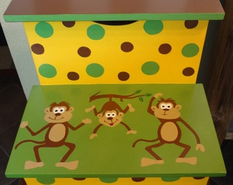 Bathroom Step Stool - Monkey Step Stool - Monkeys - Nursery Step Stool - Yellow and & Monkey step stool | Etsy islam-shia.org