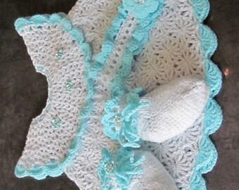 Handmade Baby Crochet Dress, Knitting Socks and Head Band with Beautiful Flower (3-12 month)