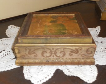 Ornate Shabby Chic Decor - Gilt Florentine Wood Box - Jewelry Box - Relic Mirror Trinket Case