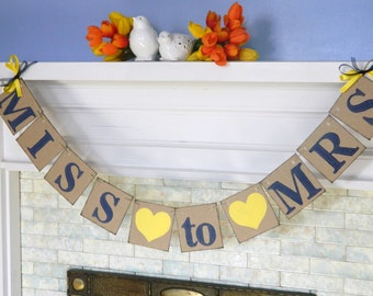 Navy and yellow Bridal Shower Decor/ MISS to MRS Bridal Shower Banner / Bachelorette Decor / wedding Banners / You Choose the Colors