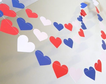 Red White and Blue Paper Heart Garland / 10ft Paper Heart garland / Bridal Shower Decor / Nautical Decor / your color and size choice