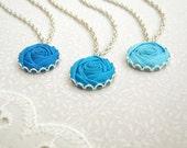 Custom Bridesmaid Necklace - Blue Turquoise, Water, Aqua Fabric Flowers - Something Blue