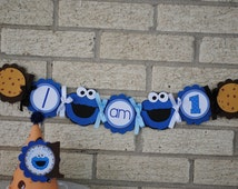 NEW - Cookie Monster,  I Am One High Chair Banner