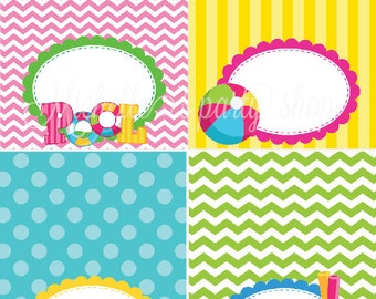 NEW - SET OF 12, Pool Party Food Tent Cards, Place Cards