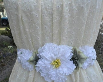 Bridal White Pleated Ribbon Flower Hatband Sash