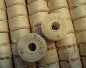 NOS USA Conco Disc Bobbins Cotton Natural 1/2 Gross 89110 Style A (25yds each) Organic Decor 72 Spools Original Box Instant Collection