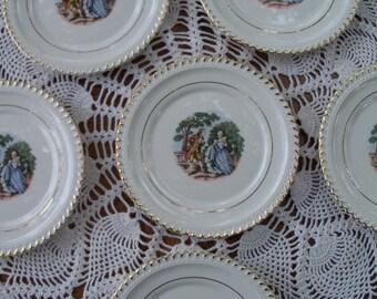 China Plates George & Martha Washington Colonial Motif Gold Rim Unmarked
