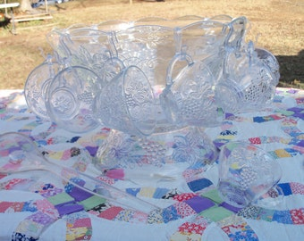 Punchbowl Mid Century Crystal Tuscany Grape Motif With Base Cups Hooks & Ladle Original Box Party Planner Find